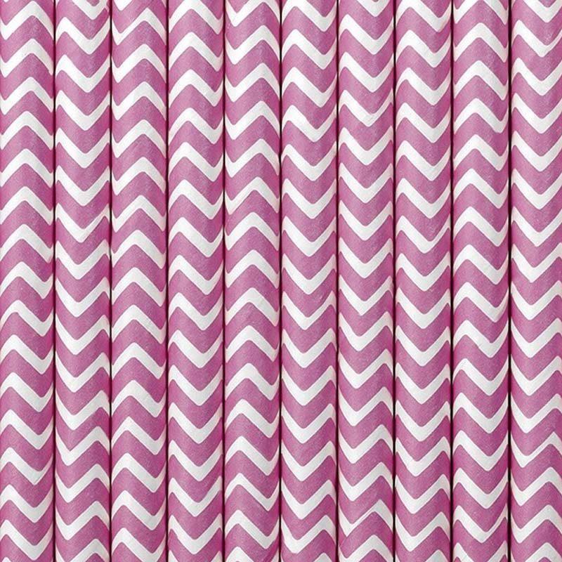 Lote de 10 cañas. Zig-zag rosa, fondo blanco. 19.5cm