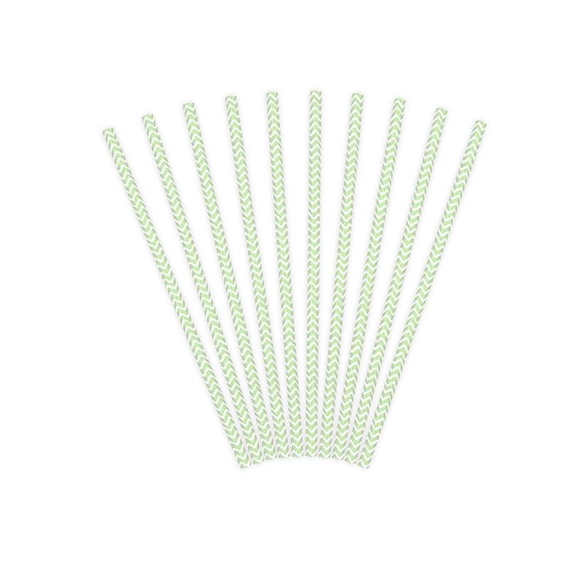 Lote de 10 cañas. Zig-zag verde menta, fondo blanco. 19.5cm