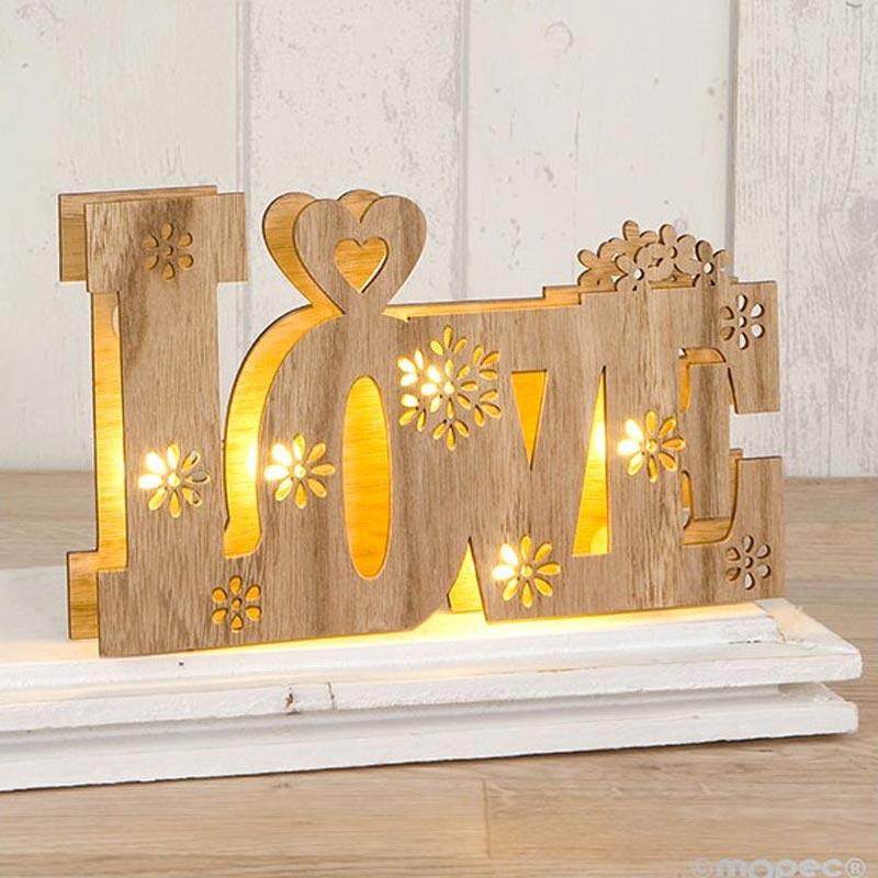 Palabra love en madera con luces led