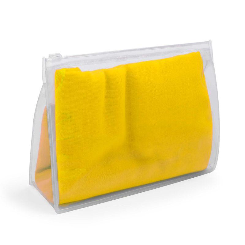 Ultimos regalos para invitados añadidos panuelo para boda presentado en neceser transparente 6 colores amarillo