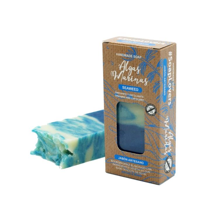 Pastilla de jabón artesano. Presentado en caja. Algas marinas. 100gr