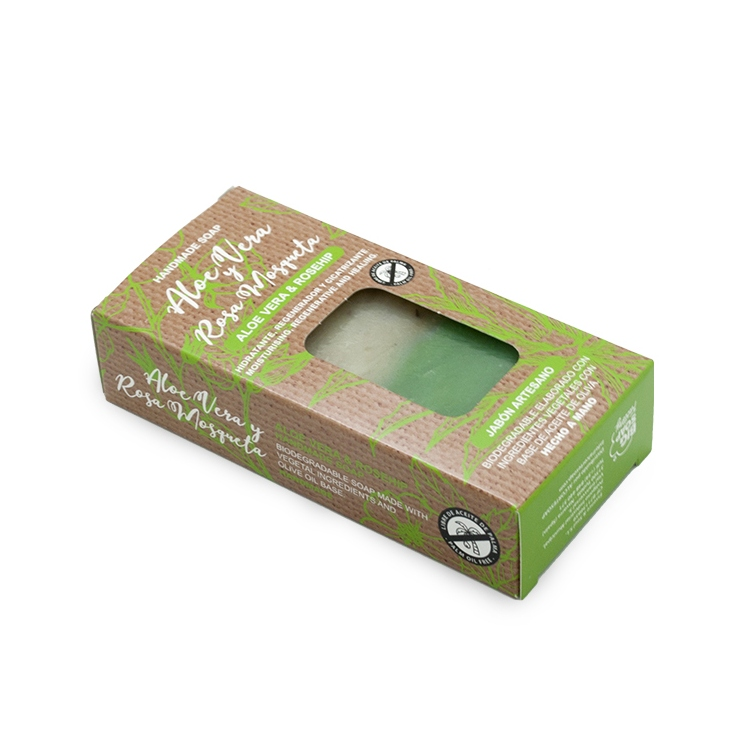 Pastilla de jabón artesano. Presentado en caja. Aloe Vera y Rosa Mosqueta. 100gr