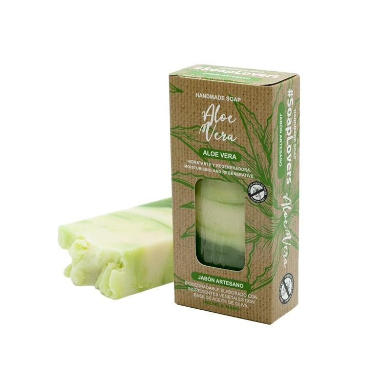 Pastilla de jabón artesano. Presentado en caja. Aloe Vera. 100gr
