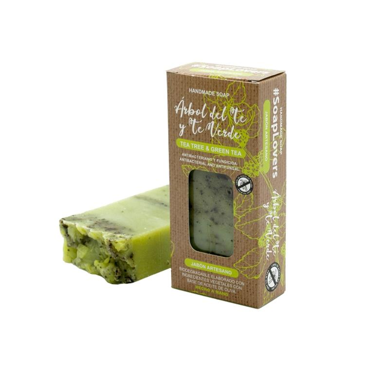 Pastilla de jabón artesano. Presentado en caja. Arbol del té y té verde. 100gr.