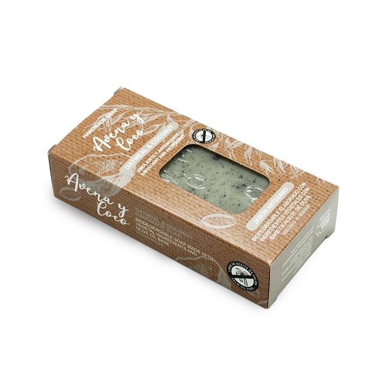 Pastilla de jabón artesano. Presentado en caja. Avena y coco. 100gr.