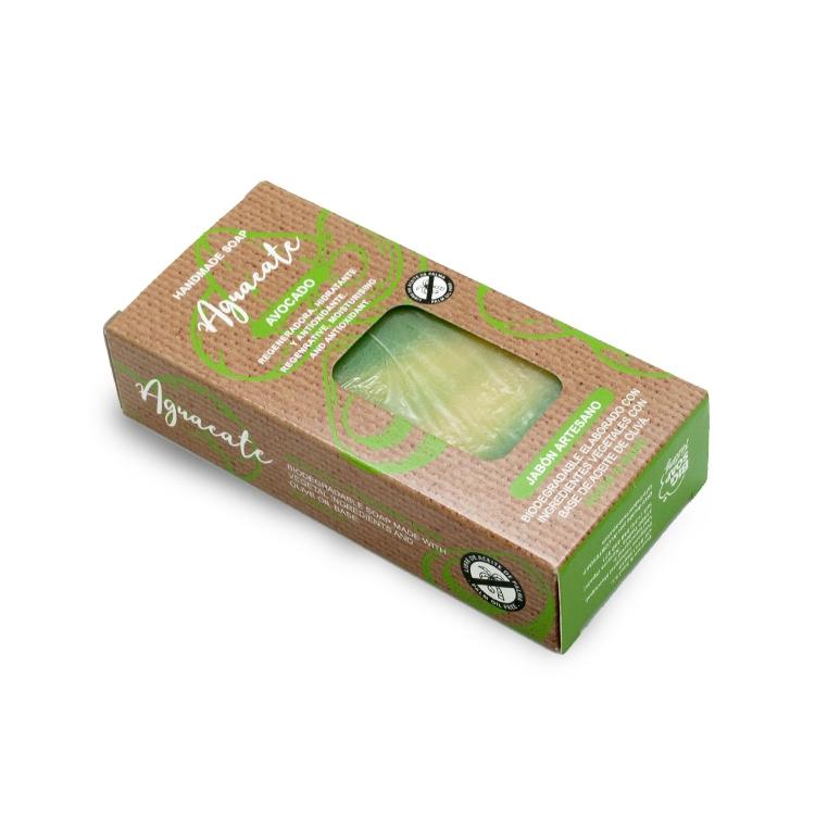 Pastilla de jabón artesano. Presentado en caja. Aguacate. 100gr.