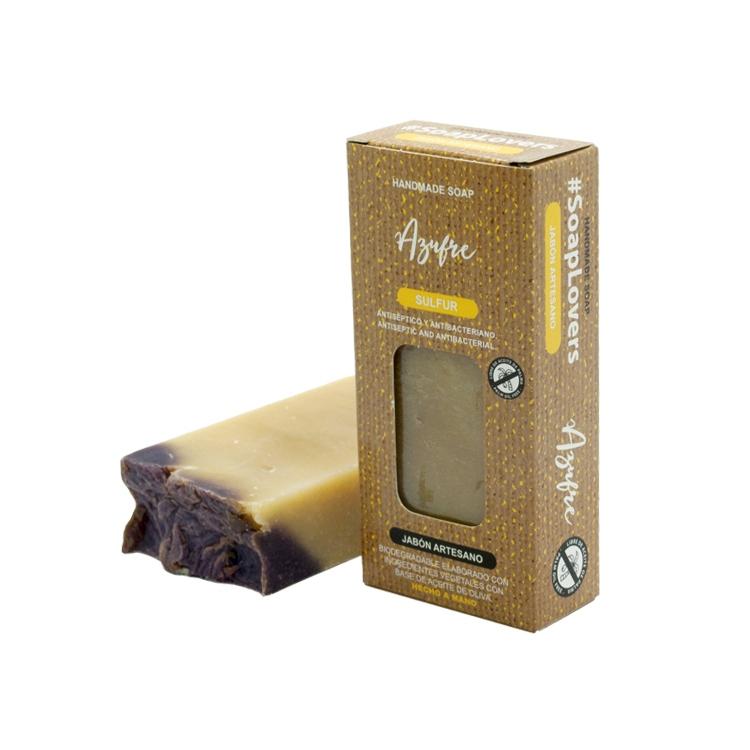 Pastilla de jabón artesano. Presentado en caja. Azufre. 100gr.