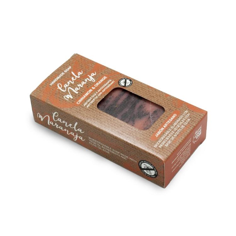 Pastilla de jabón artesano. Presentado en caja. Canela y naranja. 100gr.