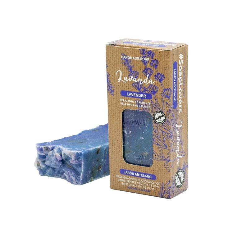 Pastilla de jabón artesano. Presentado en caja. Lavanda. 100gr.