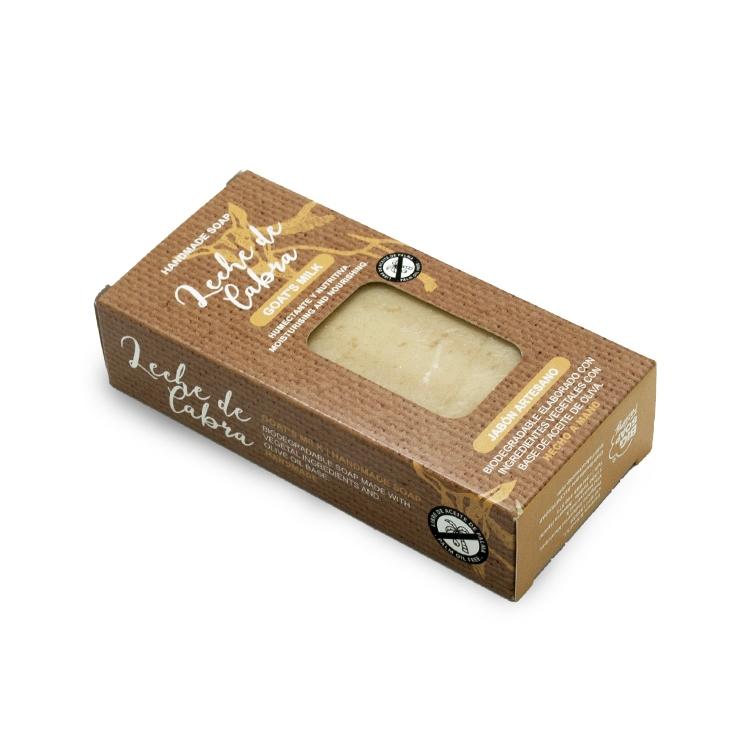 Pastilla de jabón artesano. Presentado en caja. Leche de cabra. 100gr.