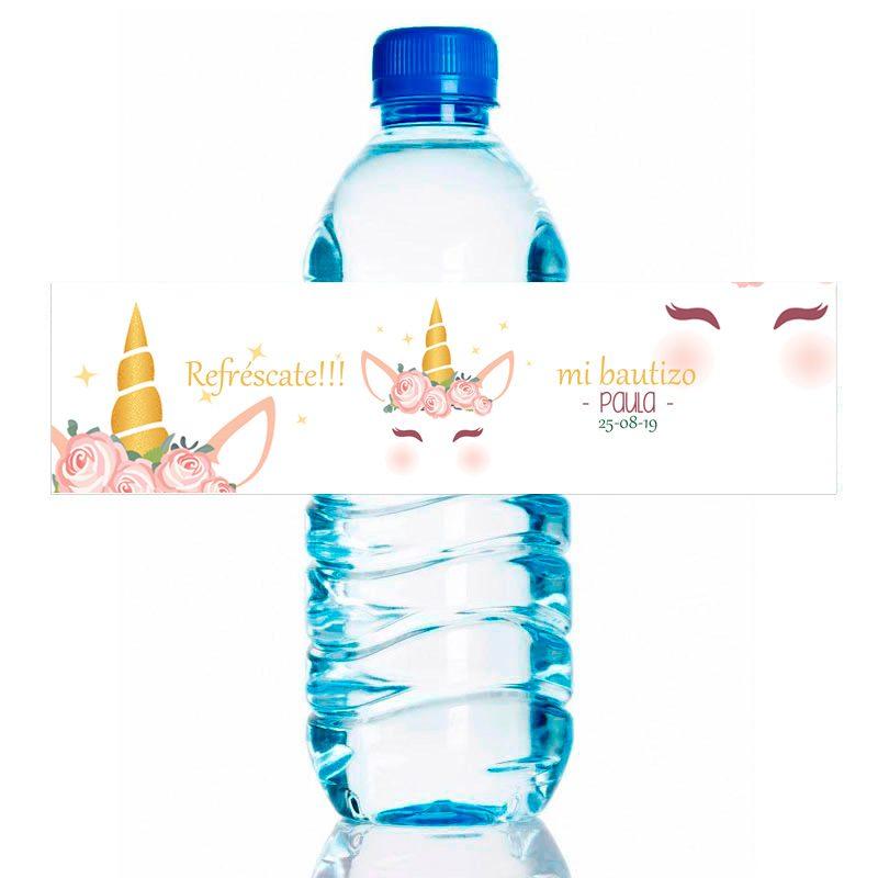 Etiqueta para personalizar botella de agua. Modelo Glitter Unicornio. 20x5cm pegatina de bautizo botella