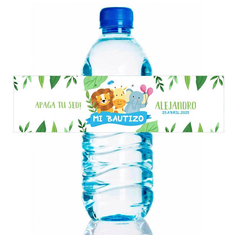 Etiqueta para personalizar botella de agua. Modelo Selva. 20x5cm pegatina de bautizo botella selva