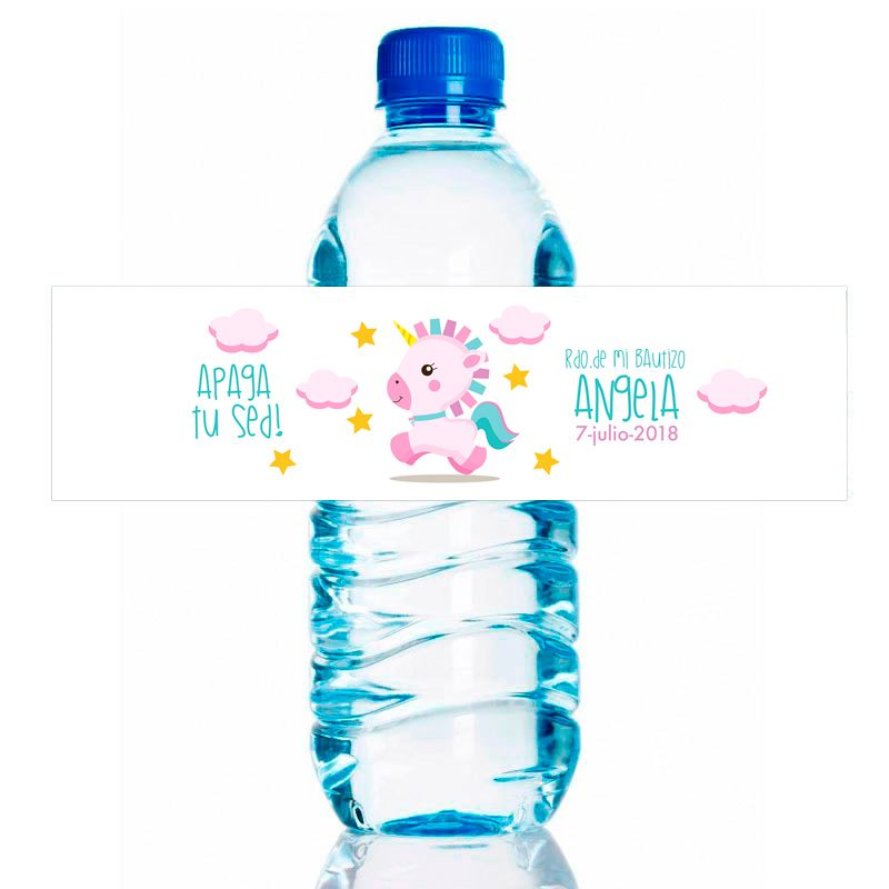 Etiqueta para personalizar botella de agua. Modelo Pink Unicornio. 20x5cm pegatina de bautizo para agua