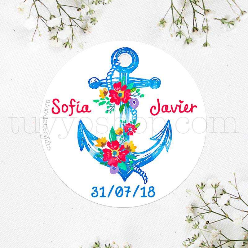 Bonita etiqueta para boda con diseño de ancla flora
