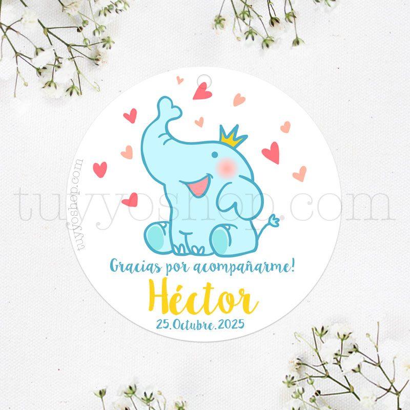 Etiquetas para bautizo, elefantito y corazones pegatina para bautizo elefante