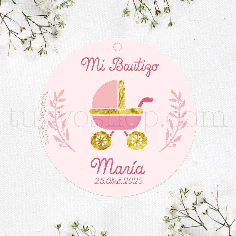 Etiqueta para bautizo modelo carrito rosa pegatina para detalles de bautizo