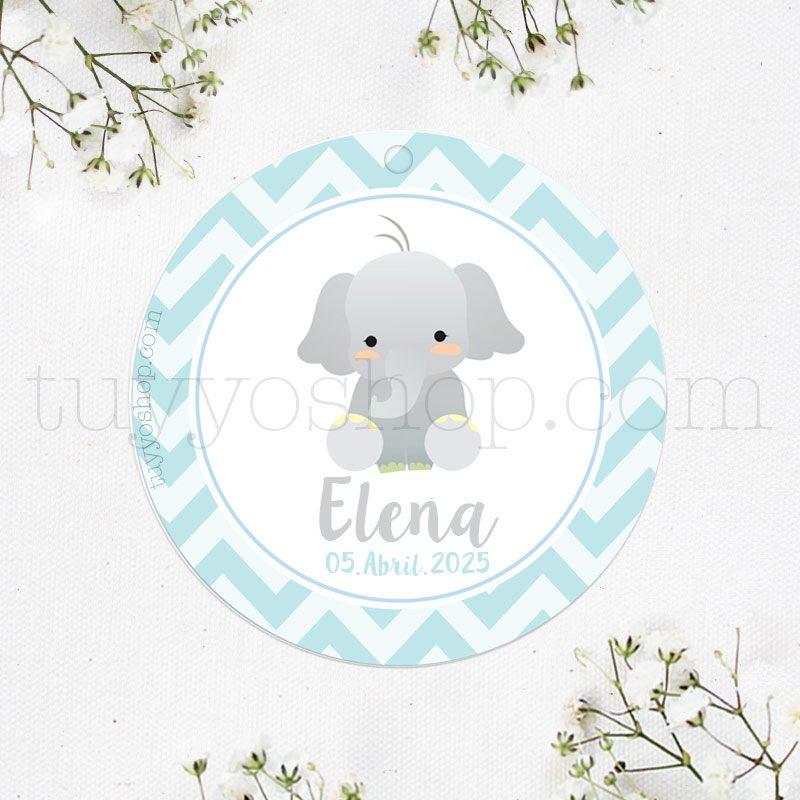 Etiqueta para bautizo, elefantito pegatina para detalles de elefante