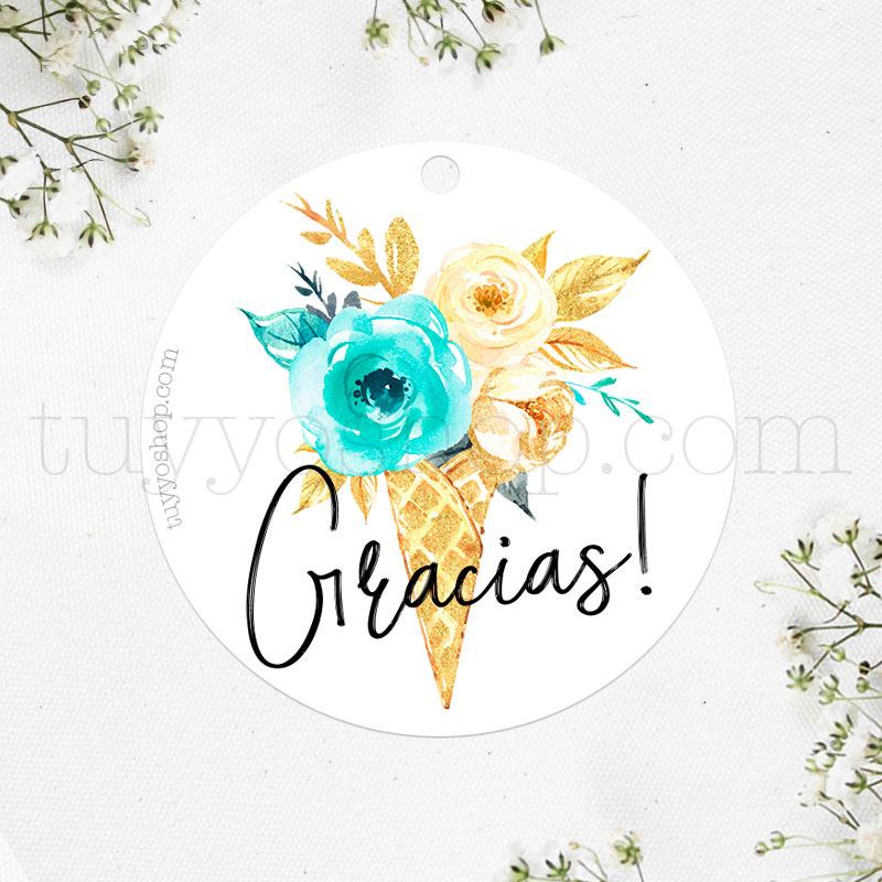 etiqueta para boda, modelo gracias, cucurucho floral