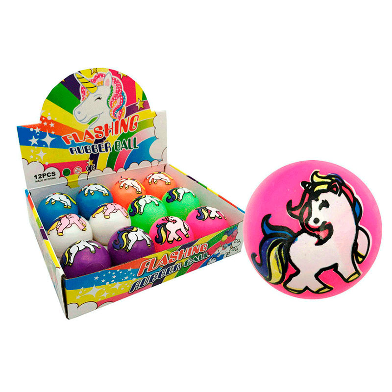 Pelota de unicornio con luces. 4 colores disponibles.