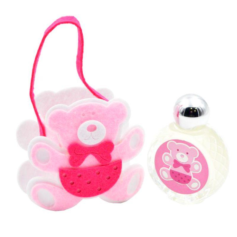 Bautizo perfume jazmin con bolsa de fieltro en forma de osito rosa 9x10x4 5cm bautizo