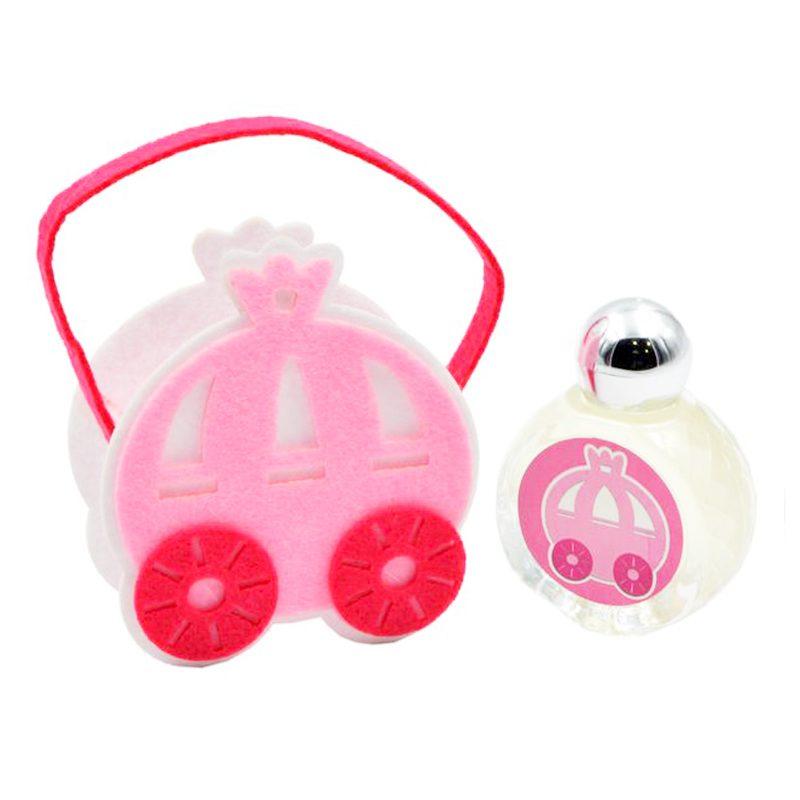 Bautizo perfume jazmin en carro princesa de fieltro 9x12x4cm bautizo