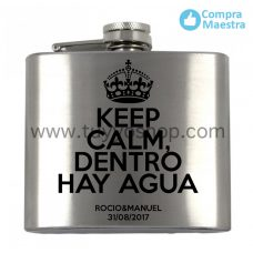 petaca para invitados de boda Keep Calm 5oz