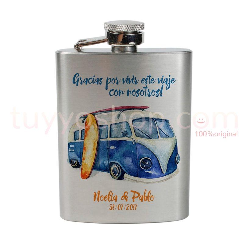 Petaca para boda personalizada, diseño furgoneta azul. 4oz
