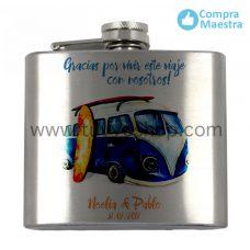 petaca para recuerdo de boda, modelo furgoneta azul