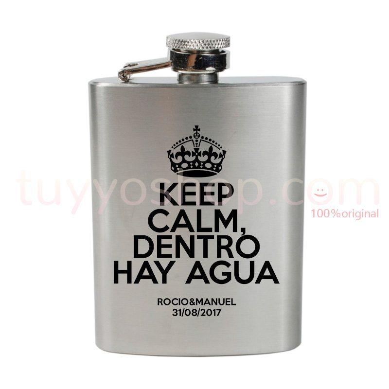 Petaca personalizada para boda, diseño Keep Calm, dentro hay agua. 4oz.