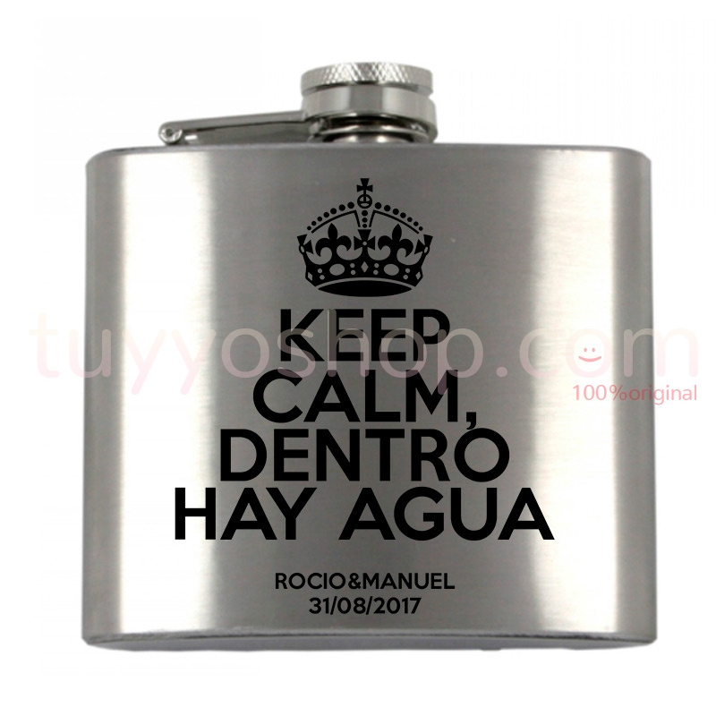 Petaca personalizada para boda, diseño Keep Calm, dentro hay agua. 5oz.