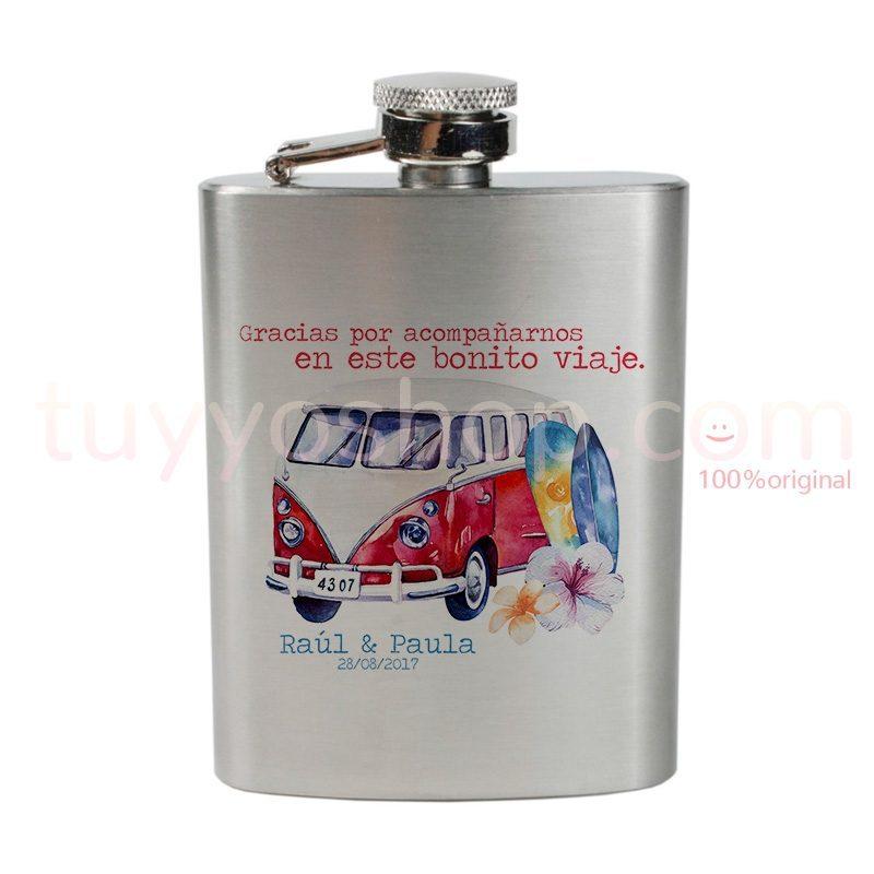 Petaca para recuerdo de boda, furgoneta roja petaca personalizada para boda furgoneta roja 4oz