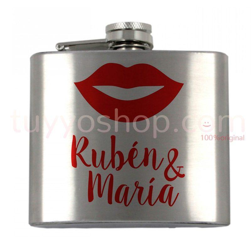 Petaca personalizada para boda, modelo labios. 5oz