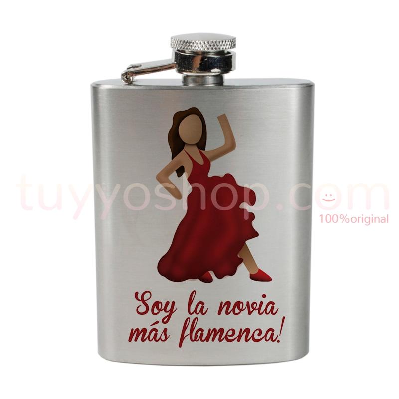 Petaca personalizada para boda, la novia más flamenca. 4oz