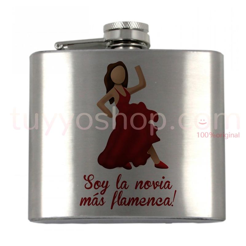 Petaca personalizada para boda, la novia más flamenca. 5oz