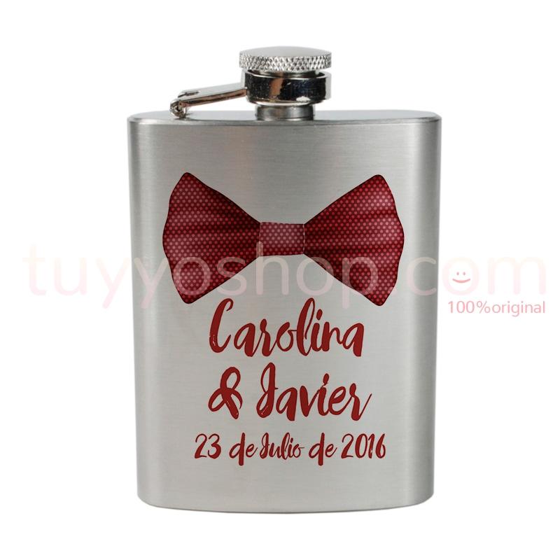 Petaca para boda personalizada, modelo pajarita roja 4oz