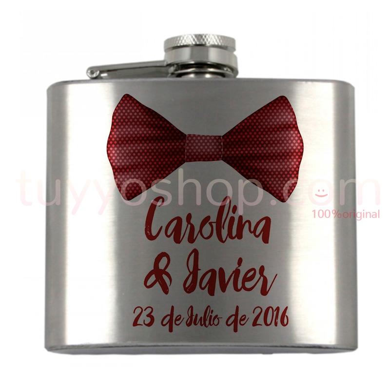 Petaca para boda personalizada, modelo pajarita roja 5oz