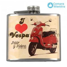 petaca para recuerdo de boda, modelo vespa en color rojo