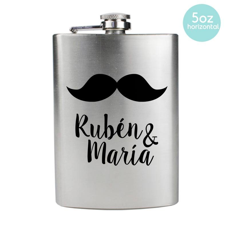 Petaca para boda Bigote. Disponible en 4 y 5oz