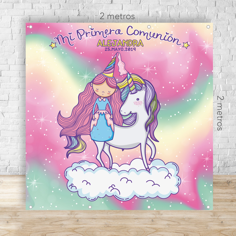 Photocall modelo Princesa Unicornio. Personalizable. 2x2 metros. Incluye ollados.