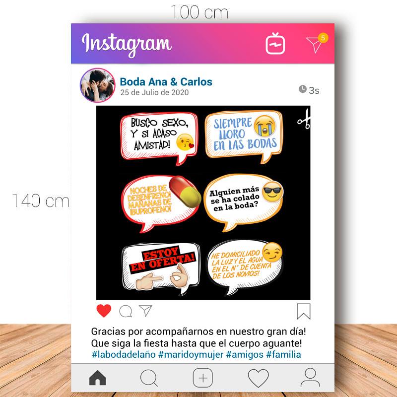 Marco de instagram versión 2. Ideal para bodas. 100x140cm. Personalizable. Incluye 6 carteles.