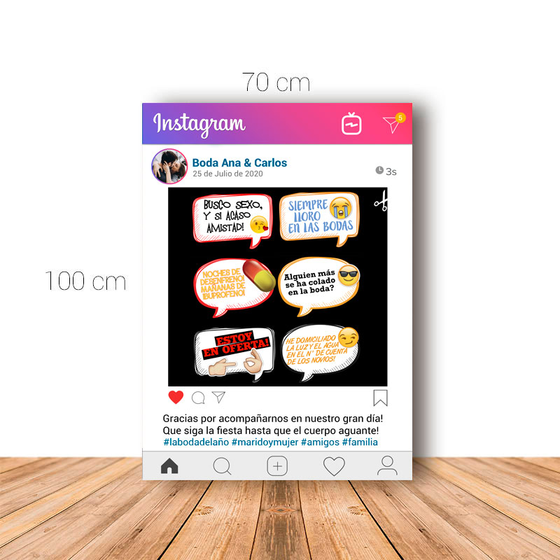 Marco de instagram version 2. Ideal para boda. 70x100cm. Personalizable. Incluye 6 carteles.