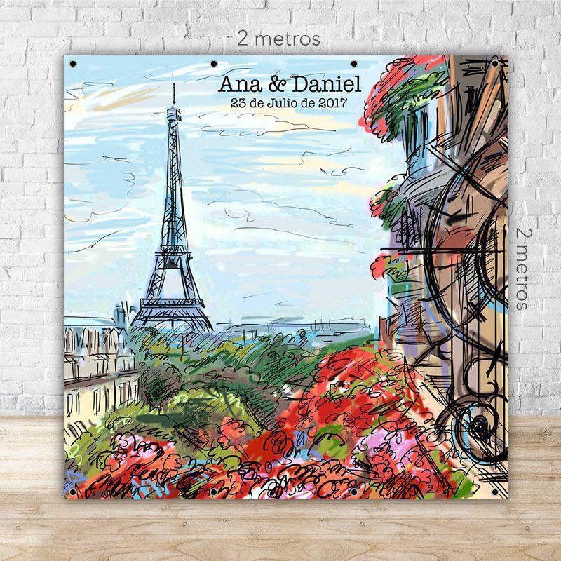 Photocall para boda dibujo de París con o sin soporte