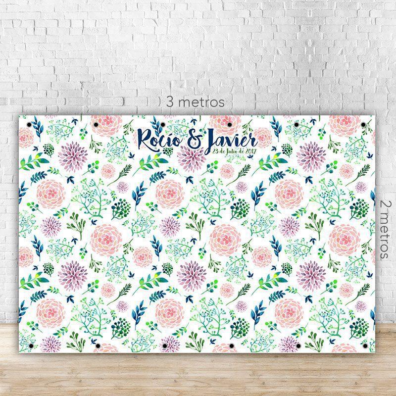 Photocall para boda flores pintadas a mano, con o sin soporte