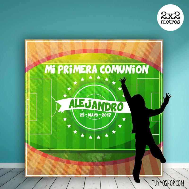 Photocall para comunión, diseño campo de fútbol