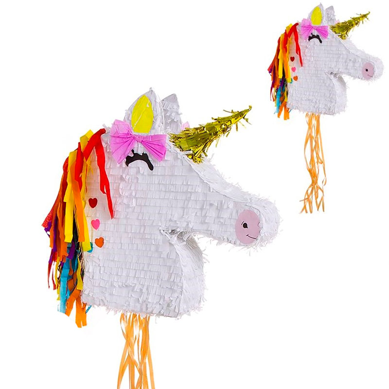 Piñata para eventos. Modelo cabeza unicornio. 42x41cm