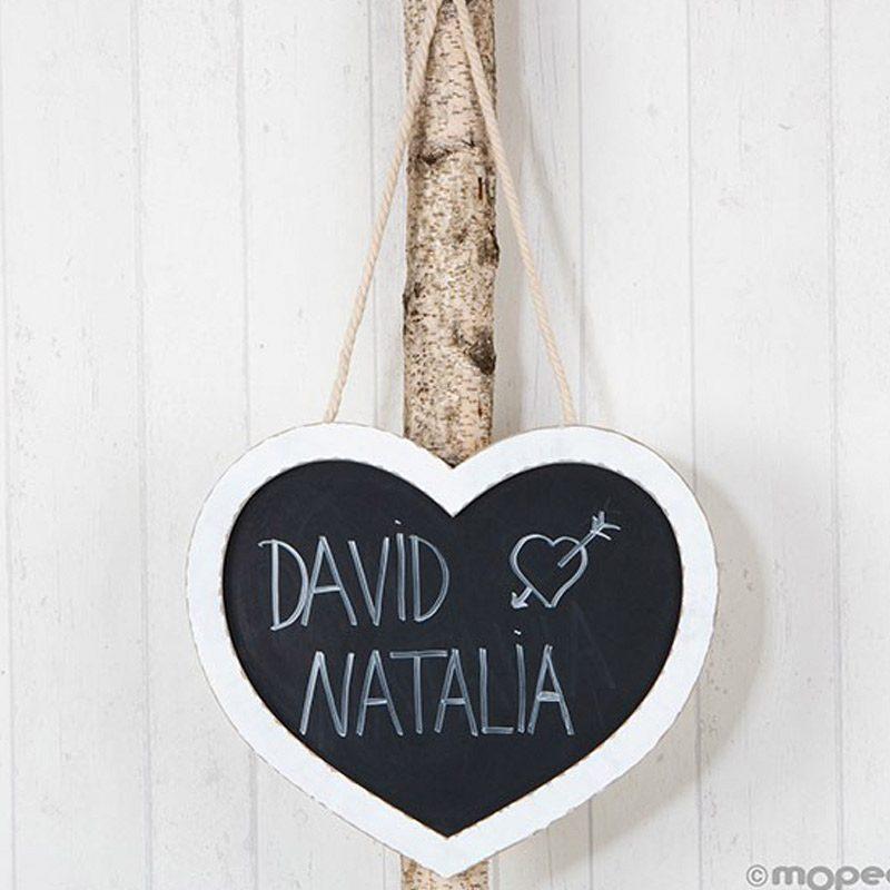 Pizarra boda corazón para colgar