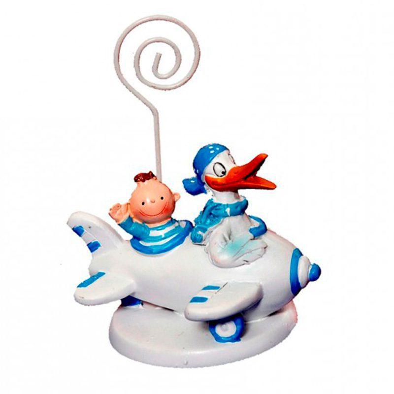 Portafotos para bautizo. Pato con bebé. Azul