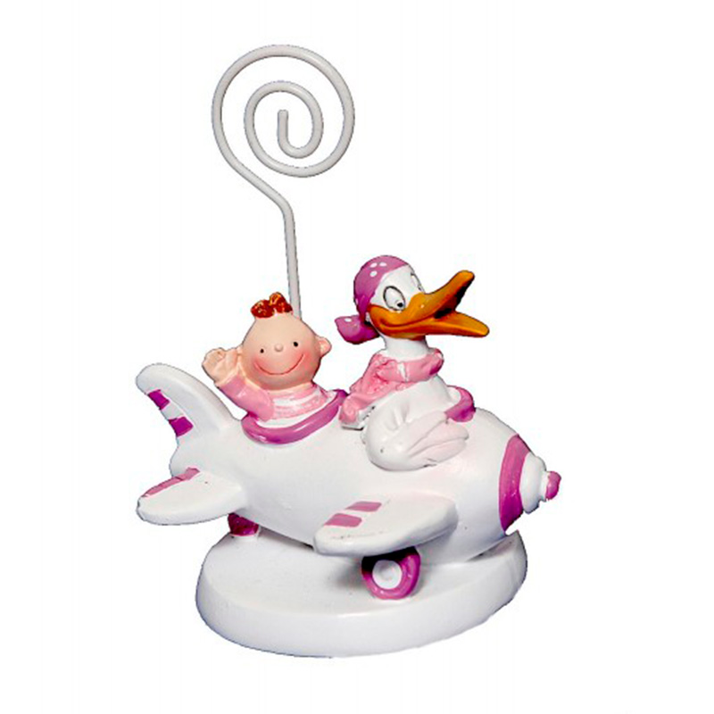 Portafotos para bautizo. Pato con bebé. Rosa