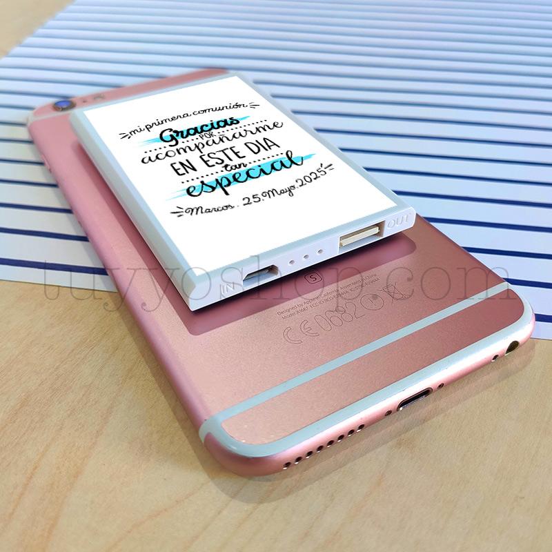 Powerbank personalizada para comunión, modelo acompañarme power bank regalo comunion acompaname3