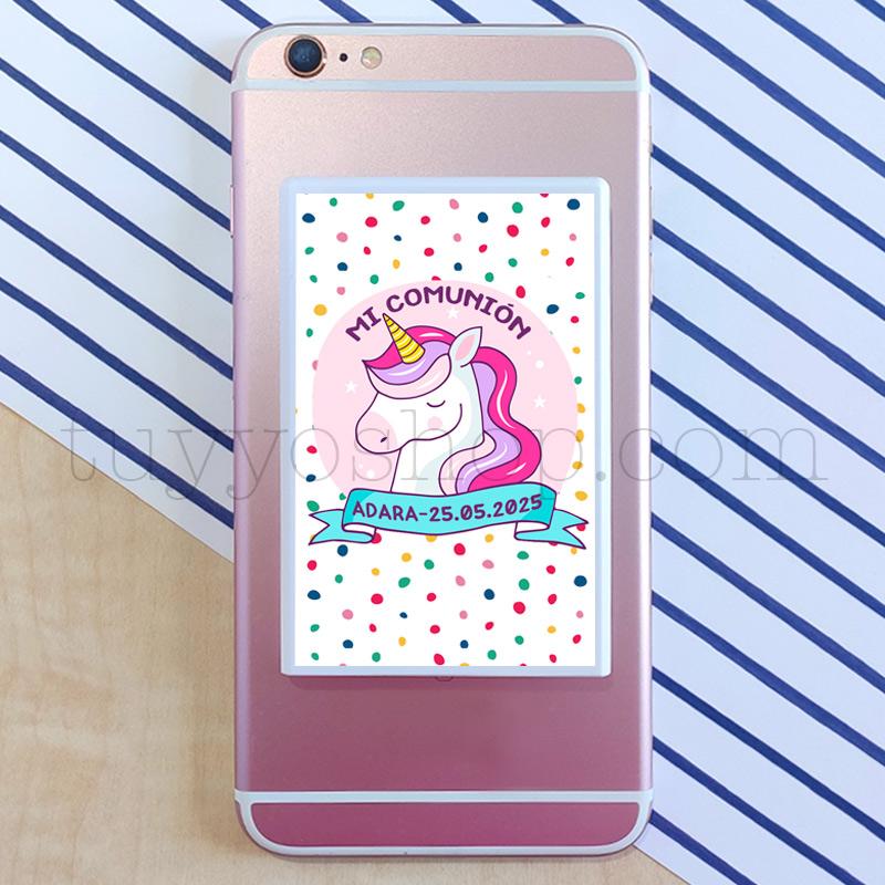Powerbank personalizada para comunión, modelo unicornio colors powerbank para comunion unicornio color